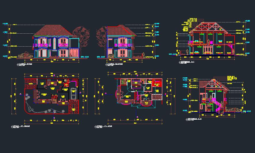 rumah 2 lantai ukuran 7x13 dwg